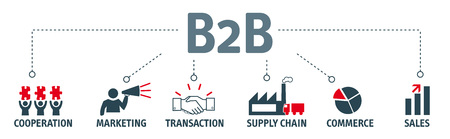 b2b: business-to-business. Banner with keywords and icons Vectores