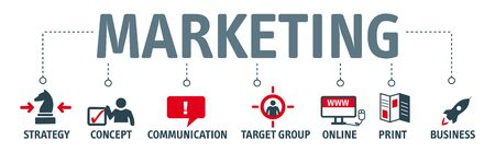 Marketing. Banner with keywords and icons