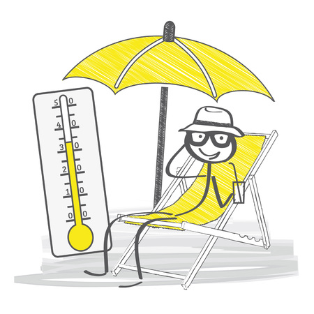 stick figure relax on his deck chair under a yellow parasol Çizim