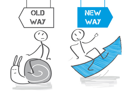 Old habits versus new way vector illustration Çizim