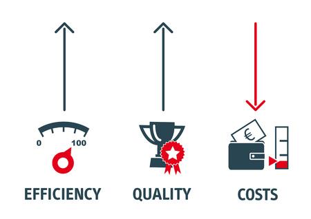 Wykres biznesowy wydajności Ilustracje wektorowe