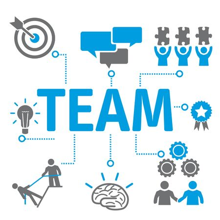 Team Concept Icons. Contains such Icons as working together, Meeting, Brainstorming, Business Communication, goals and more