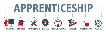 apprenticeship concept vector illustration. Banner with keywords and icons