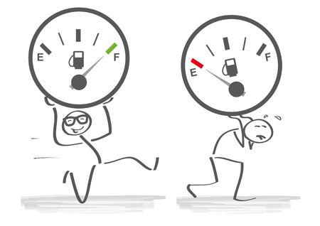 Tegenover - krachtig en zwak. Vector illustratie