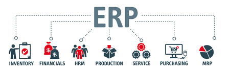 ERP. 엔터프라이즈 자원 계획 개념입니다. 키워드 및 아이콘이 포함 된 배너
