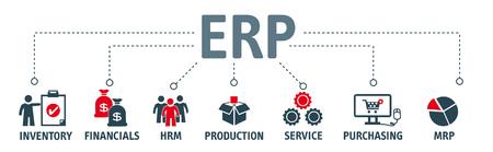 ERP. Enterprise resource planning-concept. Banner met zoekwoorden en pictogrammen Stock Illustratie