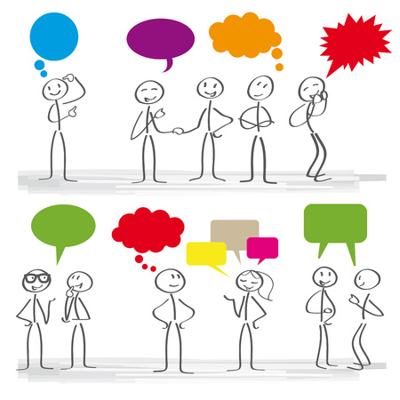 Stick figures with colorful dialog speech bubbles