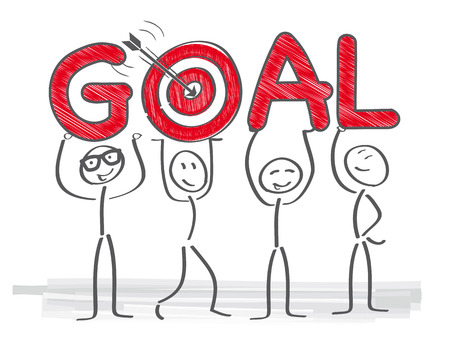 Group of people targetting goal