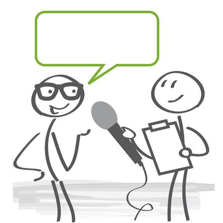 Reporter, der eine Übersicht mit Mikrofon- und Klemmbrettillustration tut.