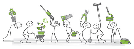 stick figure holding gardening tools and utensils Vectores