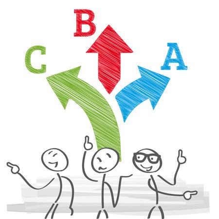 Los hombres de negocios dando consejos con elección flecha camino - los hombres de negocios tienen que elegir entre diferentes opciones de árbol. Ilustración de vector con figuras de palo