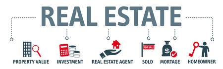 Banner real estate concept - chart with icons
