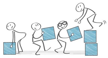 samenwerking en teamwork, team stacking dozen Stock Illustratie