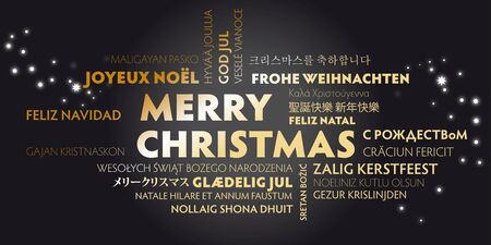 Merry Christmas greeting card with golden letters in different languages on black background Çizim