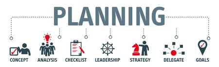 Bannière planification concept illustration vectorielle avec des icônes