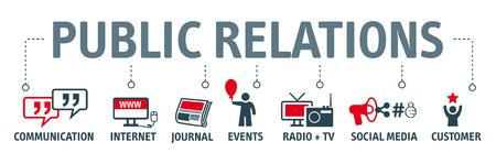 Banner pr - grafico con parole chiave e icone Vettoriali