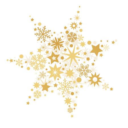 Golden Christmas Stars isolated on white Background