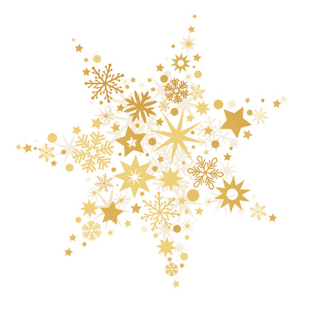 Golden Christmas Stars isolated on white Background