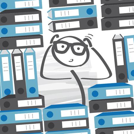 overtime - heavy workload - Businessman between many folders Illustration