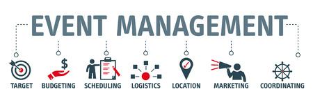 Banner-Event-Management-Konzept-Vektor-Illustration mit Symbolen Vektorgrafik