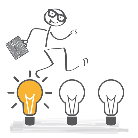 A stick figure with light bulb on plain background