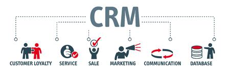 Klant relatie management concept. Banner met vector iconen