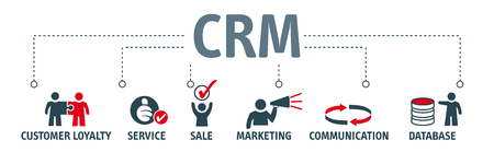 Customer relationship management concept. Banner with vector icons