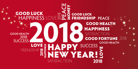 New Years Eve -  red postcard happy new year 2018