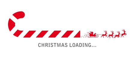 progress bar with candy cane  and santa claus showing loading of christmas