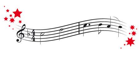 La decorazione di Natale e le note di musica vector l'illustrazione.