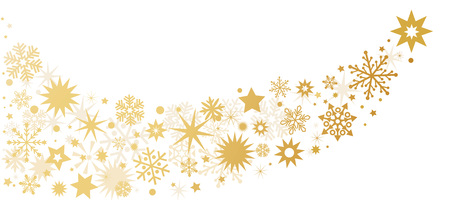 Set of golden glowing sparkling stars