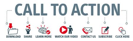 Baner wezwanie do działania wektor ilustracja koncepcja z ikoną Ilustracje wektorowe