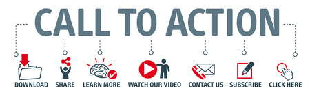 Chiamata dell'insegna al concetto dell'illustrazione di vettore di azione con l'icona Vettoriali