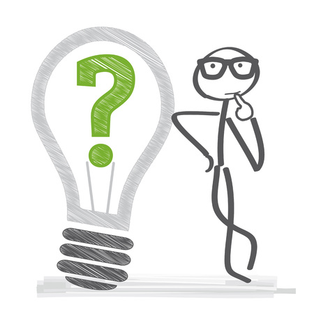 L'homme pense. Ampoule et point d'interrogation. Illustration vectorielle