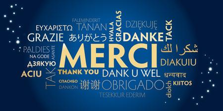 Frans dank u ondertekenen met vertalingen in vele talen. Vakantie illustratie.