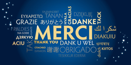 French thank you sign with translations into many languages. Holiday illustration. Иллюстрация
