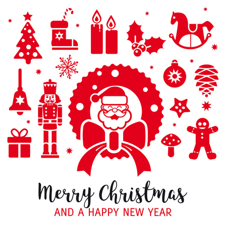 merry christmas and a happy new year. red christmas elements vector Illustration for easy editing