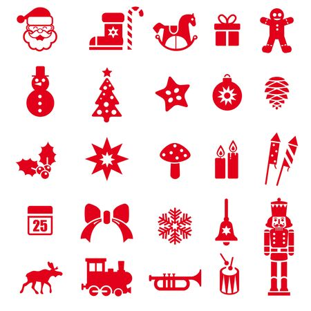 Red Christmas elements vector Illustration for easy editing.