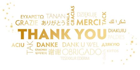 White and golden postcard thank you - holiday illustration for multilingual for christmas or thanksgiving day Vetores