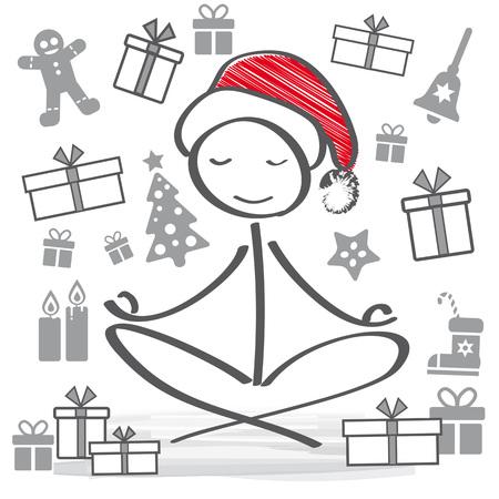 meditating Santa Claus with christmas symbols Stock Illustratie