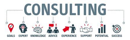 Concetto di consulenza banner. Testo e icone Illustrazione vettoriale