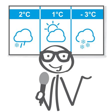 Weather reporter presents the weather forecast for the next three days. Vector illustration