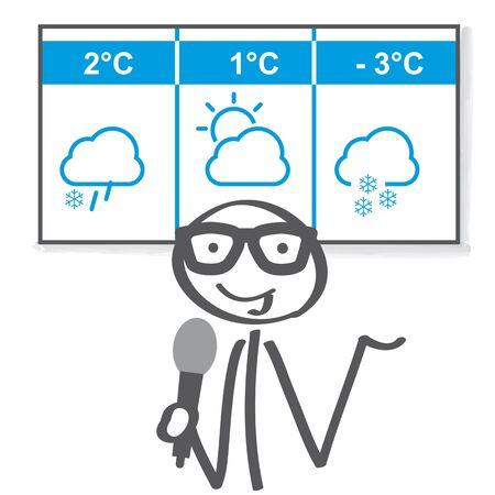 Der Wetterreporter präsentiert die Wettervorhersage für die nächsten drei Tage. Vektor-illustration Standard-Bild - 91690057