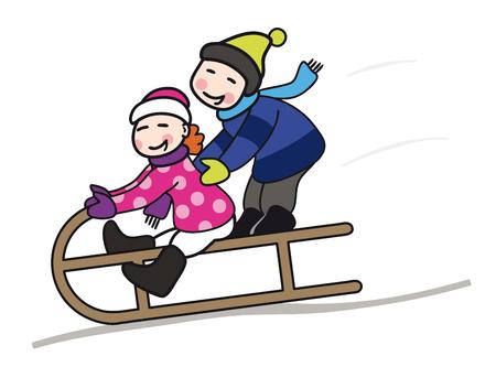 Kids sliding in the snow icon.