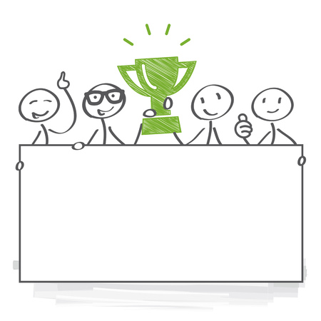 winner, award, team, trophy, victory, illustration, win, champion, prize, competition, podium, celebration, Poster, Banner, Vector, cartoon, comic, characters, stick figure