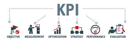 Banner KPI concept with icons. Key Performance Indicator using Business Intelligence metrics to measure achievement versus planned target