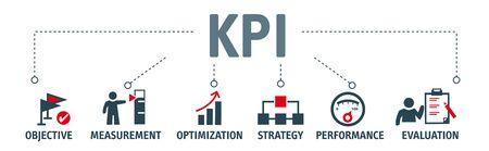 Concetto di banner KPI con icone. Indicatore di prestazioni chiave che utilizza le metriche di Business Intelligence per misurare i risultati rispetto agli obiettivi pianificati