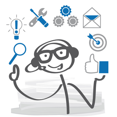 concept de service à la clientèle . opérateur avec casque travaillant au centre d & # 39 ; appel