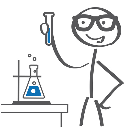 scientist doing experiments in lab. Vector illustration with stick figure sketch
