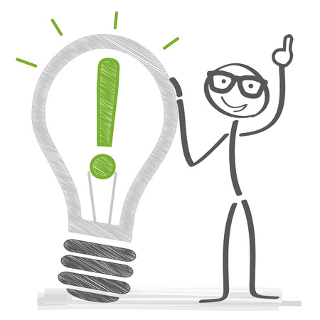 Goal Solution and ideas Concept - stick figure vector illustration with lightbulb